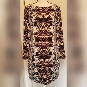 Vince Camuto Black White Geometric Dress NWT
